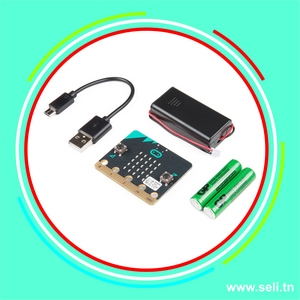 MICRO:BIT KIT CARTE DE DEVELOPPEMENT + CABLE USB+ COUPLEUR PILE+ PILES.Arduino tunisie